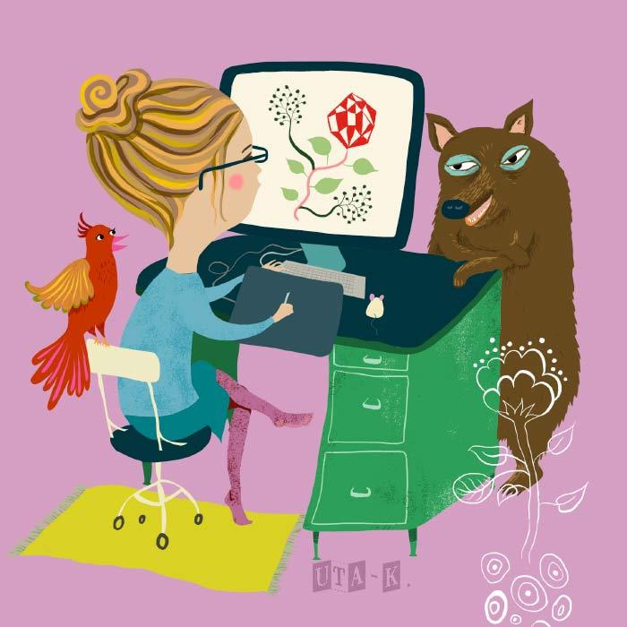 illustration huebscher arbeitsplatz mit tieren